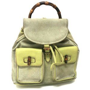 GUCCI Old Gucci Bamboo Backpack - Daypack Light Gr